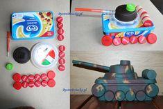 Czołg jako prezent dla chłopca lub taty, zabawka wykonana w ramach recyklingu tworzyw sztucznych - zrób to sam, inaczej upcycling