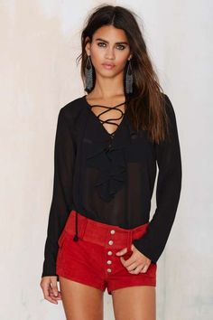 Nasty Gal Total Eclipse Lace Up Blouse
