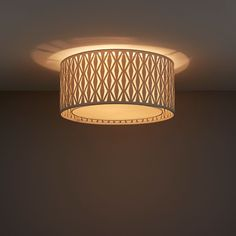 This 2 lamp flush light creates an eye-catching light pattern which is cast through the decoratively cut fabric outer shade. Flush Lighting, Shades, Ceiling Lights, Grey, Home Decor, Interior Ideas, Lounge, Indoor, Pattern