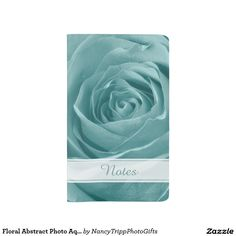 Floral Abstract Photo Aqua Rose Personalized Large Moleskine Notebook Cover With Notebook