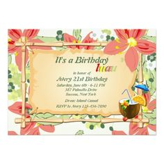 Luau Birthday Party Invitations Luau Birthday Party Invitation