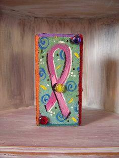 Breast Cancer Awareness Brick Pink Ribbon Whimsical by KathyHyatt, $18.00