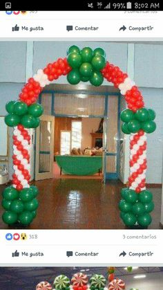 It's beginning to look a lot like Christmas ❤️💚 by: InnoBalloons S. Christmas Party Backdrop, Christmas Stage, Christmas Balloons, Christmas Design, Christmas Crafts, Christmas Decorations, Christmas Colors, Balloon Columns, Balloon Arch