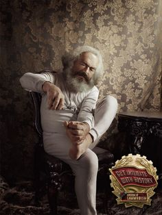 Karl Marx (1818 - 1883)    [click on this image to find a bundle of clips, which are useful for elucidating the many ideas of Karl Marx]      Image from a campaign of print ads for the Museum of Communism, Czech Republic