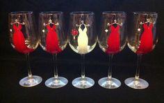 5 Red Bridesmaid Dress Wine Glasses by thepaintedflower on Etsy