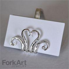 Vintage hammered fork heart business card holder by ForkArtJewelry