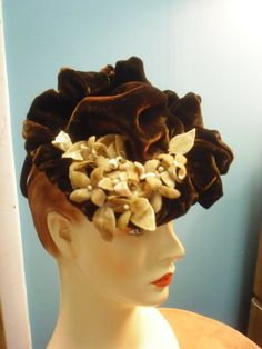 1940s Vintage Tilt Topper Hat Cocktails or Afternoon Appropriate Brown Velvet & Velvet Violets