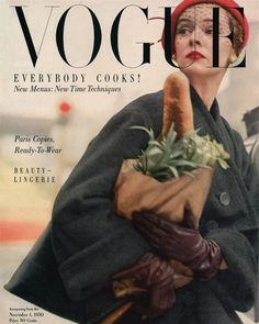 Everybody Cooks Tonight, Norman Parkinson's second cover for US Vogue. November 1, 1950.