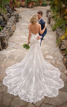 Sexy backless wedding dress with long train, essense of australia Wedding Dresses For Girls, Wedding Dress Trends, Designer Wedding Dresses, Bridal Dresses, Wedding Gowns, Wedding Dress Long Train, Mermaid Gown Wedding, Detailed Back Wedding Dress, Wedding Dresses Fit And Flare