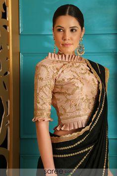 Ideas For Embroidery Blouse Indian Crop Tops Saree Blouse Neck Designs, Saree Blouse Patterns, Fancy Blouse Designs, Designer Blouse Patterns, Pattern Blouses For Sarees, Indian Blouse Designs, Silk Blouses, Kurta Designs, Sari Bluse