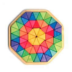 Colorful triangular shaped wooden blocks