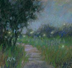 "Daily Paintworks - ""Land Study 3 (with fireflies)"" - Original Fine Art for Sale - © Rita Kirkman"