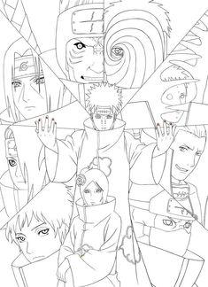 Naruto Artbook : Akatsuki Lineart [PSD] By On DeviantArt - Coloring Home Wallpaper Naruto Shippuden, Naruto Wallpaper, Naruto Shippuden Anime, Naruto Art, Boruto, Otaku Anime, Manga Anime, Anime Art, Naruto Sketch Drawing
