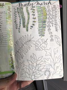 Moody March bullet journal tracker. #bujo #bulletjournal #bujoinspiration #march #moodtracker #plants #leaves