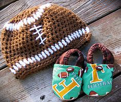 Football: Crochet Hat and Cloth Baby Shoes