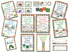 This Eric Carle inspired classroom theme kit includes everything you need to get your primary level classroom set-up and ready.  This set will had lots of color and fun to your elementary classroom.  This set includes everything you need for your calendar area, math wall, word wall, focus wall, behavior chart, student binders, nameplates and so much more!