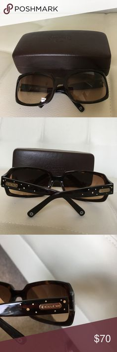 Coach sunglasses Firm Price These are like new Coach glasses with gold and gem embellishments on the sides!  No scratches or signs of wear.  Rarely used and always in its case. Dark brown tortoise design.  Comes with case! Coach Accessories Sunglasses