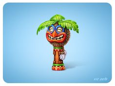 Dribbble - Happy Coconut Relic by Victor Soto