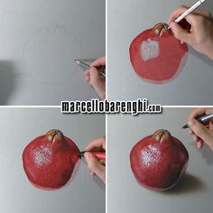 Official site of artist Marcello Barenghi, Hyperrealism, Art 3d Drawings, Realistic Drawings, Pencil Drawings, Fruit Painting, Painting For Kids, Lemon Painting, Pomegranate Drawing, Color Pencil Sketch, Colored Pencil Techniques