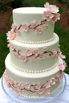 except with maybe blue flowers and grey cake cherry blossom wedding cake Gorgeous Cakes, Pretty Cakes, Cute Cakes, Cherry Blossom Cake, Cherry Blossom Wedding, Cherry Blossoms, Cherry Cake, Fondant Cakes, Cupcake Cakes