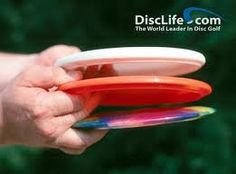 Disc golf includes a variety of discs, but the three main types (seen here from top to bottom) are: putters, mid ranges and drivers. Each type of disc has it's own flight pattern and will fly a specific way. This is an incredibly addicting sport once you start learning flight patterns of multiple discs!