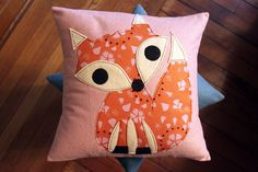 Fox Pillows by maureencracknell, via Flickr. I love this applique cushion cover - I seem to be developing a fondness  for foxes recently! LOL!