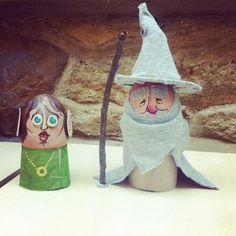 """This is not identified, but I assume it's Gandalf and Bilbo Baggins from """"The Hobbit."""" It's a staff creation from The Book People in preparation of their (now completed) Easter egg decorating contest. See some more of these very cute, and mostly literary, eggs here: http://www.thebookpeople.co.uk/webapp/wcs/stores/servlet/qs_content1_tbp?storeId=10001=10051=100=Competitions=wl_competition_EasterIntro"""