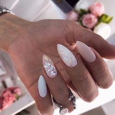 wedding nails \ wedding nails for bride . wedding nails for bride acrylic . wedding nails for bride classy . wedding nails for bride gel . wedding nails for bride bridal Almond Nails Designs, Marble Nail Designs, Acrylic Nail Designs, Long Nails, My Nails, Short Nails, Coral Nails, Pink White Nails, Pastel Pink Nails