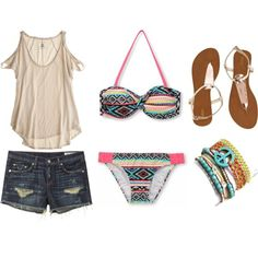 Summer style, tribal bathing suit, jean shorts, accessories♥♥♥