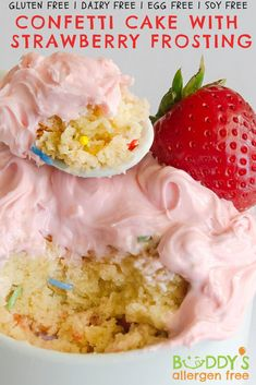 Confetti Mug Cake + Summer Strawberry frosting! Velvety vanilla cake glittered with all-natural rainbow sprinkles – NO artificial dyes, NO soy. Add a crown of pink to your summer treat with our Summer Strawberry frosting made with REAL organic strawberries so you can enjoy the taste of juicy farm-stand strawberries any time! (We will warn you though, you might just want to eat this frosting straight from the packet!) Enjoy the summer vibes! Quick, Easy, Safe, Delicious, Fun! Gluten Free Mug Cake, Vegan Gluten Free Desserts, Strawberry Frosting, Strawberry Cakes, Confetti Mug Cake, No Egg Desserts, Easy Mug Cake, Farm Stand, Rainbow Sprinkles