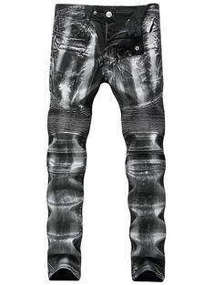 Metallic Color Straight Biker Jeans - SILVER 38