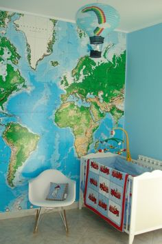 Jumbo world map mural pottery barn kids for camerons room can wall sized world map decal gumiabroncs Gallery