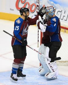 Max Talbot #25 and Semyon Varlamov #1 Colorado Avalanche