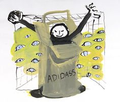 ANNE-MARIE SCHNEIDER<br /><i>Marque Adidas</i><br />2002<br />Indian ink, gouache and color pencil on paper<br />12 11/16 x 15 inches (32.2 x 38.1 cm)<br />