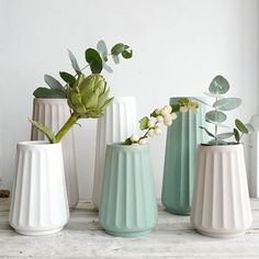 Tall Ribbed Ceramic Vase