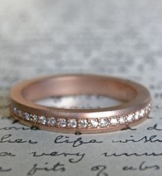 bead set diamond band in rose gold  J ALBRECHT