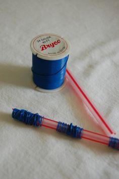 step 1 wrap wire on straw