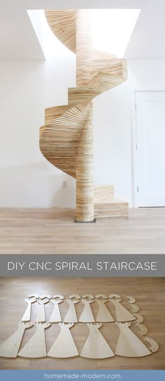 "CNCed Spiral staircase was made using the X-Carve by and is made from ¾"" thick furniture grade plywood. Furniture Grade Plywood, Escalier Design, Homemade Modern, Diy Cnc, Modern Stairs, Staircase Design, Staircase Ideas, Stairways, Diy Projects"