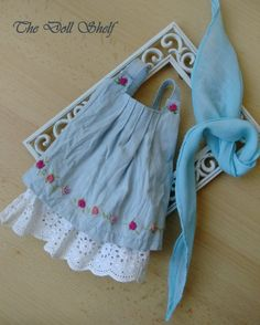 Dress, underskirt and scarf – a blue set decorated with embroidery for a doll by TheDollOnTheShelf on Etsy