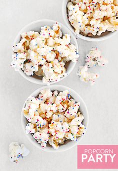 I don't think there could be a better topping for popcorn! White chocolate and sprinkles! Party Popcorn