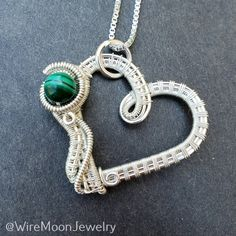 """""""Absolutely perfect anniversary gift, my wife loved it. Impeccable workmanship and design."""" Thank you very much for your kind review. It fills my heart with so much joy! 💚 You can find more jewelry at www.wiremoonjewelry.etsy.com Sterling Silver Heart Necklace, White Necklace, Sterling Silver Chains, Silver Necklaces, Moon Jewelry, Wire Jewelry, Handmade Wire, Handmade Necklaces, Stone Heart"""