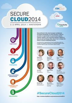 For the third time ENISA, together with Cloud Security Alliance (CSA) and Fraunhofer-FOKUS, will organise SecureCloud, a European conference with a specific focus on cloud computing security, on April in Amsterdam. Computer Security, Cloud Computing, Conference, Infographic, Workshop, Clouds, Organization, Activities, Amsterdam