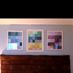 Paint samples n goodwill frames spray painted white. Thank you pinterest!!