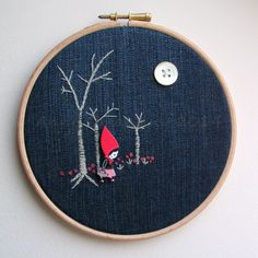 Embroidery Hoop Art red riding hood fairytale (as featured in Hoopla! magazine August 2014) by Anneatcountrybazaar on Etsy https://www.etsy.com/listing/184769409/embroidery-hoop-art-red-riding-hood