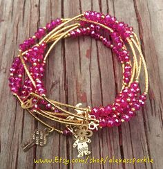 This beautifully handmade bracelet set is made up of seven (7) individual bracelets. The individual bracelets can be used all at the same time and