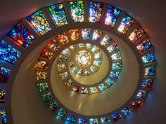 Beautiful Stained Glass Windows in the Thanksgiving Square Chapel, by Philip Johnson, 1976 - in Dallas, Texas, USA