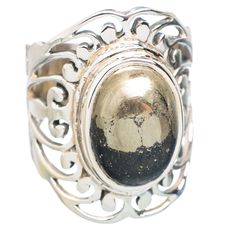 Pyrite In Magnetite (healer's Gold) 925 Sterling Silver Ring Size 7 RING727201