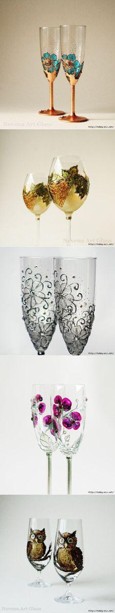 декор бокалов от NevenaArtGlass (Болгария). | Роспись по стеклу | Постила