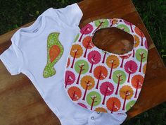 Baby Clothes  Baby Bib   Gift Set  Applique by aHouseintheWoods, $20.00