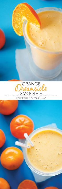 This quick and creamy healthy orange creamsicle smoothie recipe is packed with Greek yogurt protein, vitamin C, and comes together in 5 minutes! Perfect for an on-the-go breakfast, snack, or treat. // Live Eat Learn by shauna Orange Creamsicle Smoothie Recipe, Smoothie Fruit, Yogurt Smoothies, Smoothie Drinks, Orange Smoothie, Healthy Orange Julius Recipe, Yummy Drinks, Healthy Drinks, Yummy Food
